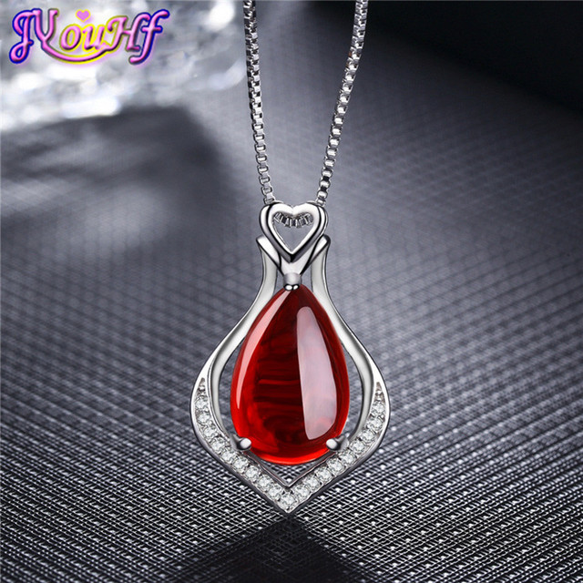 b66c4895e Luxury Ruby Jewelry CZ Diamond Platinum Plated Necklaces Natural Emerald  Gem Stone Ruby Heart Pendant Necklace For Women
