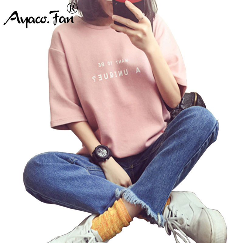 Summer Short Sleeve Soft T-Shirt 2019 New O-Neck Letter Print Loose Women T-Shirts Girls Lady T-Shirt Casual Student Tops Tee