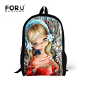 Retro Girls Doll School Bag Children Schoolbags Vintage Illustration Cartoon Book Bag for Kids Satchel Mochila Escolar Infantil