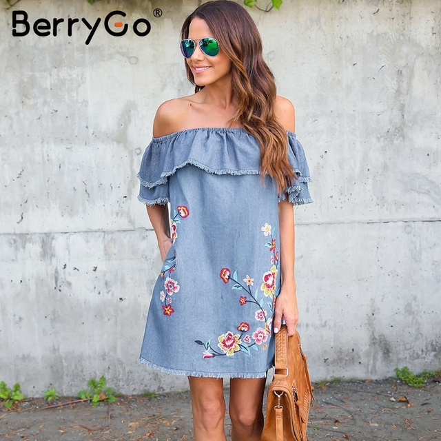 80e67ffb48 BerryGo Elegant flower embroidery denim mini dress vestidos Off-shoulder ruffle  women dress Casual denim jeans summer dress 2018
