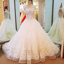 Backlake Rhinestone wedding dress lace ball gown lace up on two sides wedding  gowns 2018 robe de mariage real photos ea93f9767b60