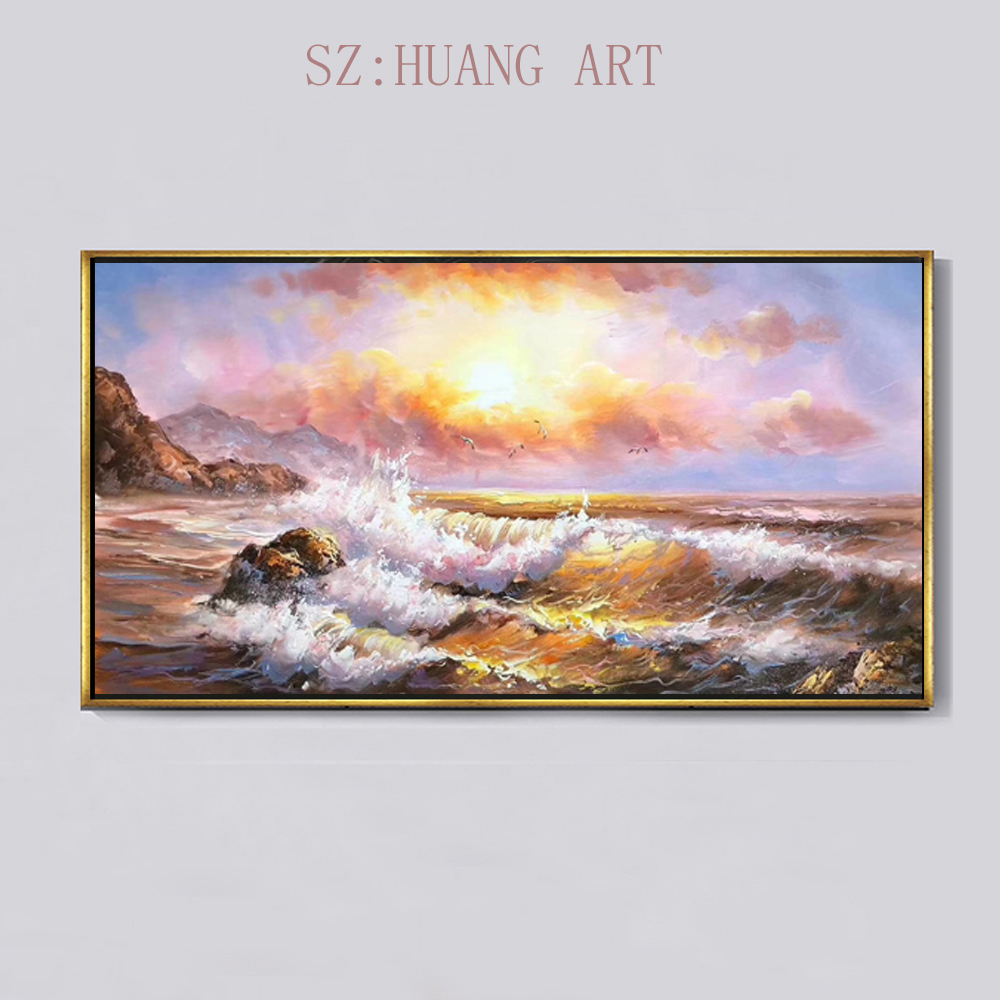Hand painted ocean waves draw modern high quality beach scenery oil painting decorated hall sofa wall of the bedroom