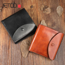 AETOO Original vintage handmade leather wallet Men and women couples first layer leather short wallet trend buckle small card aetoo original handmade wallet men retro patchwork wallet first layer of leather clever long paragraph zipper female men vintage