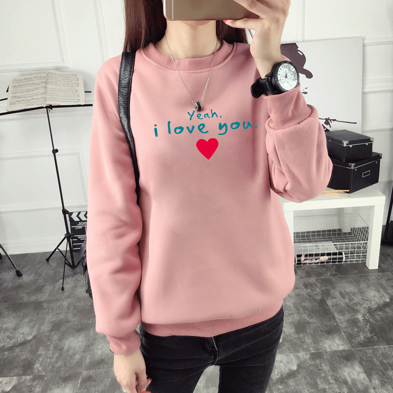 O-neck long sleeve harajuku sweatshirt korean style women pink pullover cotton yellow top harajuku hoodie casual woman clothes