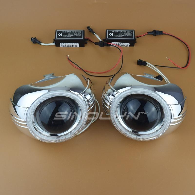 ФОТО 2nd Generation 3.0 H1 Upgraded HID Bi xenon Lens Projector Headlight Angel Eyes H1 H4 H7 LHD RHD Headlamp Car Styling Retrofit