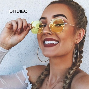 Gafas de sol hexagonales de color amarillo para mujer, anteojos de sol femeninos clásicos de diseñador de marca Retro, de lujo, con espejo 1
