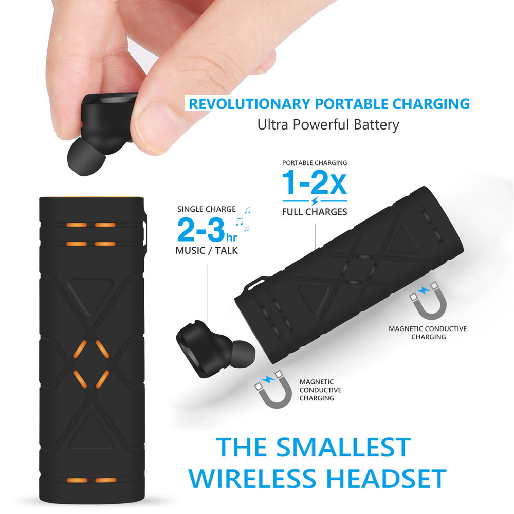 2017 TWS Wireless Earbuds Mini Bluetooth Headset Earphone with Mic with 650mAh Recharge Battery fone de ouvido for Xiaomi Red mi 2017 new 2 in 1 mini bluetooth headset phone usb car charger fone de ouvido micro earpiece wireless earphone for xiaomi mi6 mi 6