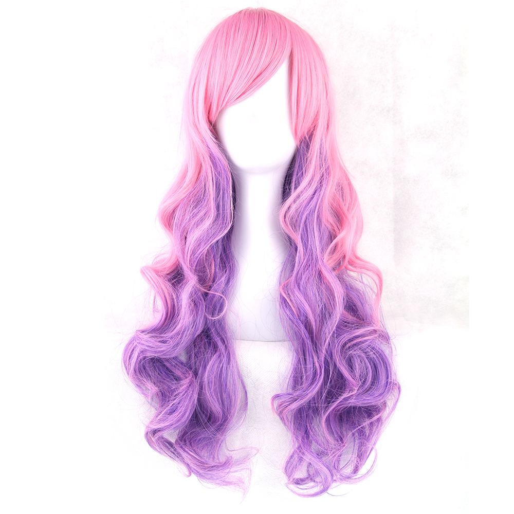 Soowee Pink Purple Women Heat Resistant Hair Colorful Wavy Cosplay Wigs Synthetic Hair None Lace Wig