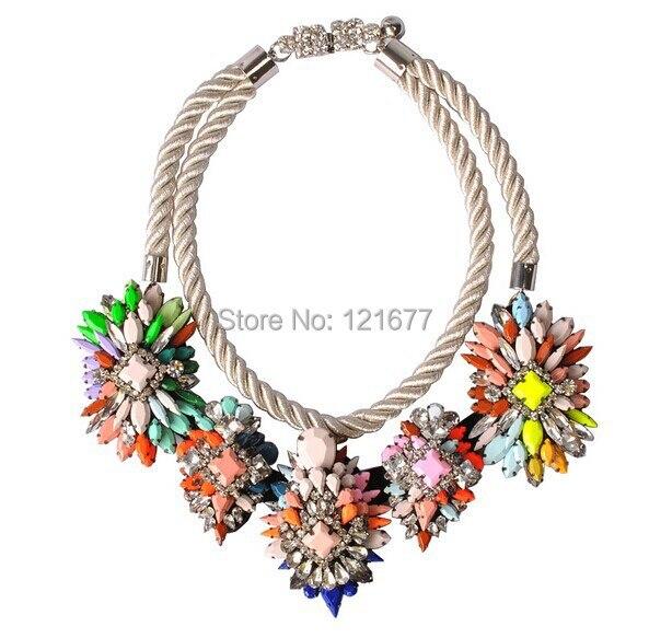 Fashion Personalized Exaggerate Statement Shourouk Necklace Luxury Rhinestone Rope Pendant Choker Collar Accessories N0044