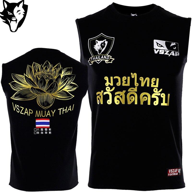 VSZAP T-Shirt MMA Vest Boxing Gym Tee Fighting Martial Arts Fitness Training Muay Thai Men Fitness Muay Thai Jersey Jiu Jitsu