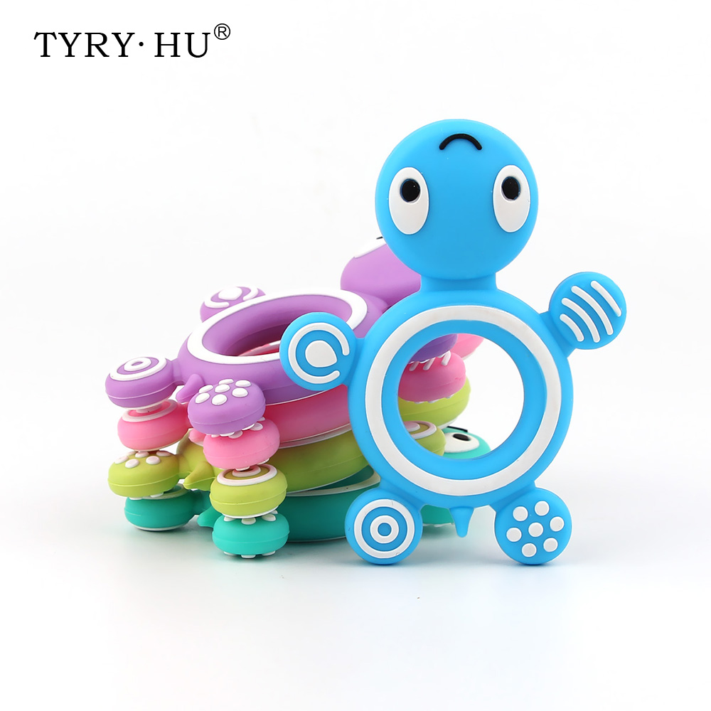 TYRY.HU 1pcs Tortoise Silicone Teether Baby Teething Necklace Accessories For Newborn Teeth Care Food Grade Silicone Freeship