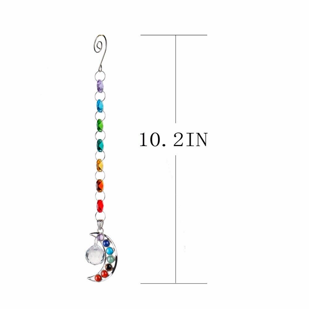 10inch Hanging Chakra Crystal Suncatcher Natural Stone Moon Crystal Prism Ball Half-moon Handmade Rainbow Ball Pendulum Pendant