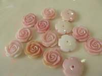 half drille high quality Genuine Pink Queen Conch Shell ,Pearl Shell Rose flower fluorial Hand Carved loose beads 12 15mm 20pc