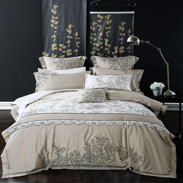 Luxus Langstapel Baumwolle Grauweiß Stickerei Bettwäsche Set