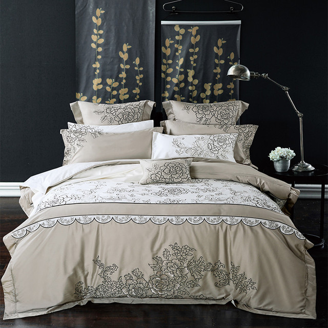 Unique luxury Long Staple Cotton Gray White Embroidery Bedding Set Duvet Cover Bed Linen Bed sheet Review - New luxury king bedding Inspirational