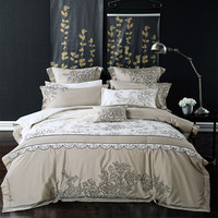 luxury Long Staple Cotton Gray / White Embroidery Bedding Set Duvet Cover Bed Linen Bed sheet Pillowcase King Queen 4/6/8/9pcs