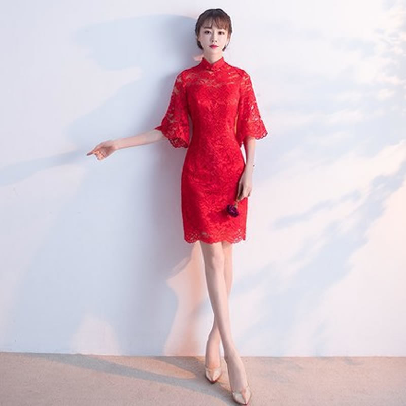 Red Wine Lace Chinese Traditional Evening Dress Qipao Party Dresses ...