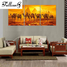 FULLCANG diamond embroidery camels transport painting cross stitch triptych animals full square rhinestone mosaic E1115