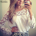 ZANZEA 2016 Fashion Women Shirt Chiffon Lace Blouse Tops Sexy Hollow Out Lace Floral Crochet Female Blusas Feminino White Tops