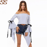 White Blouse Off Shoulder Striped Shirt Womens Tops Spring 2018 Vintage Camisa Feminina Manga Longa Female