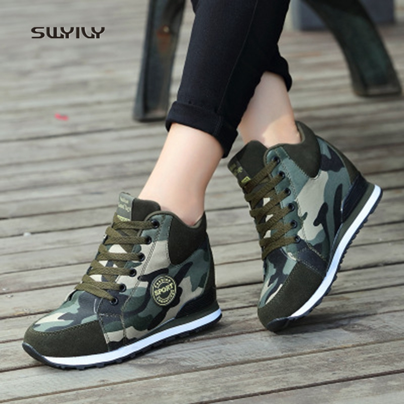 SWYIVY Women Walking Shoes Canvas Platform Lady Sneakers 2018 Autumn and  winter Large Size42 Camo Height 36f53b7a90f9
