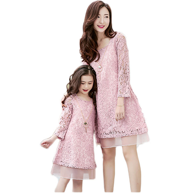 Family matching outfits mother & kids LACE DRESS long sleeve mother daughter dresses fashion mother and daughter clothes