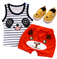 Картер девочка одежды хлопок комплект одежды младенца о-образным вырезом характер жилет без рукавов футболки + шорты мальчиков одежда набор