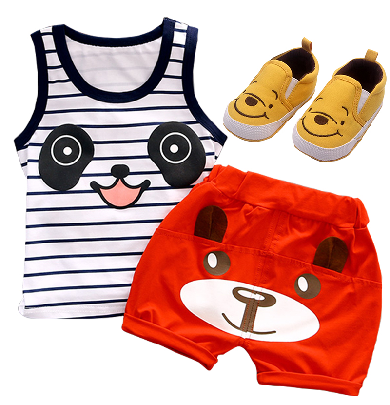 Carter bebek kız giyim pamuk bebek giyim seti o-boyun karakter yelek kolsuz gömlek + kısa pantolon bebek boys giyim seti