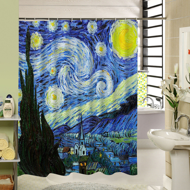 Oil Painting Starry Sky Of Van Gogh Waterproof Fabric Bath Shower Curtain For Who Have A Dream Love Astronomy Home Decor