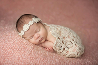 Crochet Baby Blankets Newborn Photography Props,Rosette Wrap Baby Pattern Knitted Blankets
