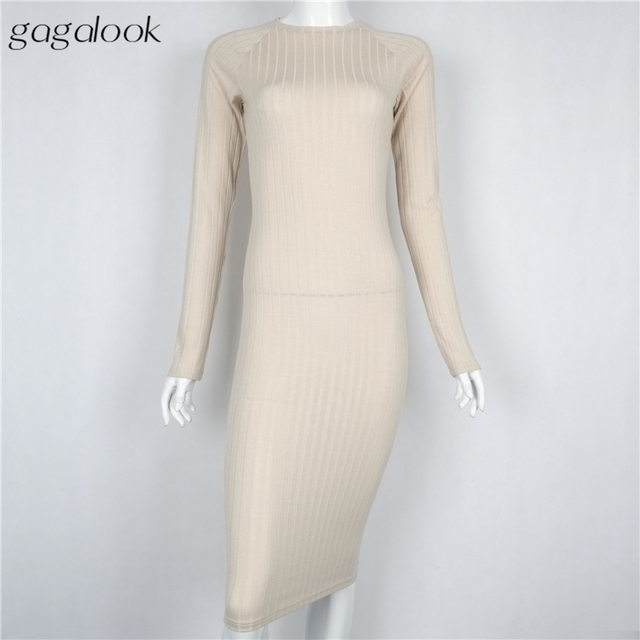 Gagalook 2016 Women Winter Dress Sexy Black Bodycon Party Office Ribbed Long Sleeve Midi Robe Femme Ete D1157