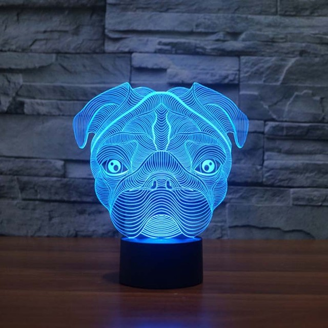 Leuke Pug Hond Nachtlampje Baby Dier Led verlichting Tafel lampen ...