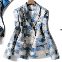 Brand New Unique Designing Runway Women Notched Double Breasted Plaid Graffiti Printing Autumn Casual Blazer Jacket