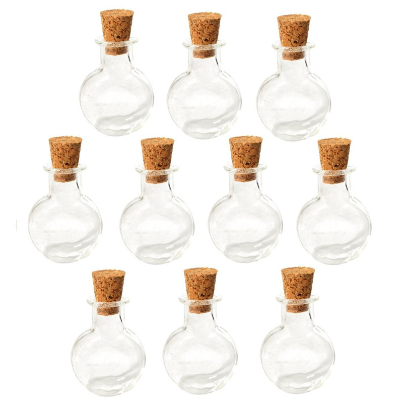 10pc artificial blowing glass transparent small empty round flat jars vial glass bottles pendant white 4cm blown glass bottle pendant