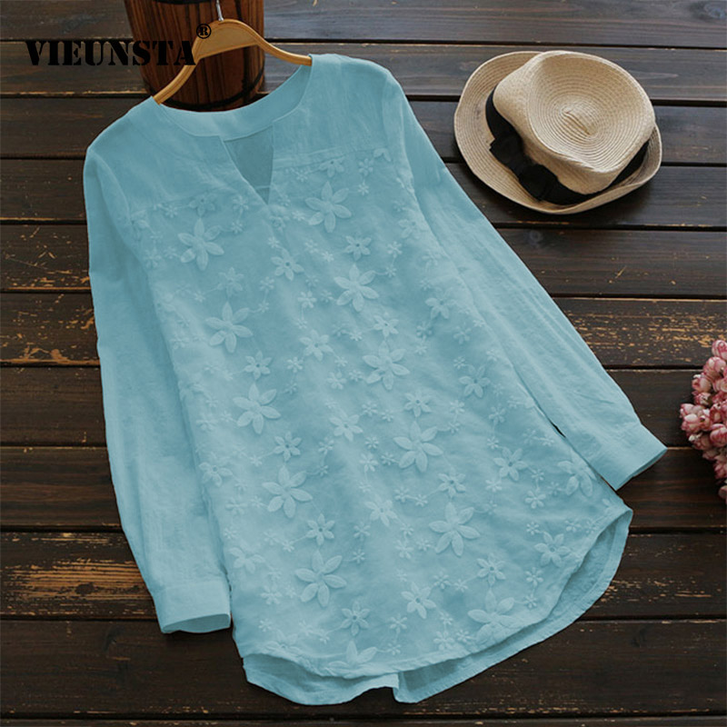 VIEUNSTA Summer Women Elegant V Neck Long Sleeve Loose Cotton Linen Top Party   Shirt   Casual Vintage Embroidery Work OL   Blouse   5XL