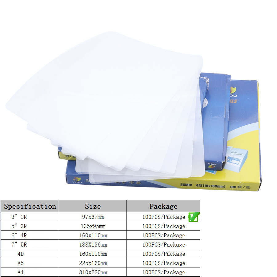 100PCS/lot Hot Pouch Laminator Film 2R 3