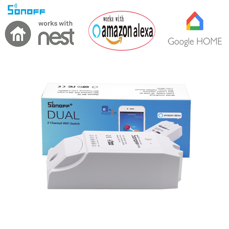 Sonoff Dual switch 2 Channel WiFi Wireless Smart Swtich Remote ON/OFF by IOS Android APP EweLink Support Countdown Repeat Timing
