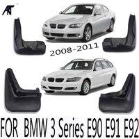 4 pçs/lote Car Mud Flap Respingo Guarda Guarda Lamas Para BMW Série 3 E90 E91 E92 2008 2009 2010 2011 4 pçs/set Paralama