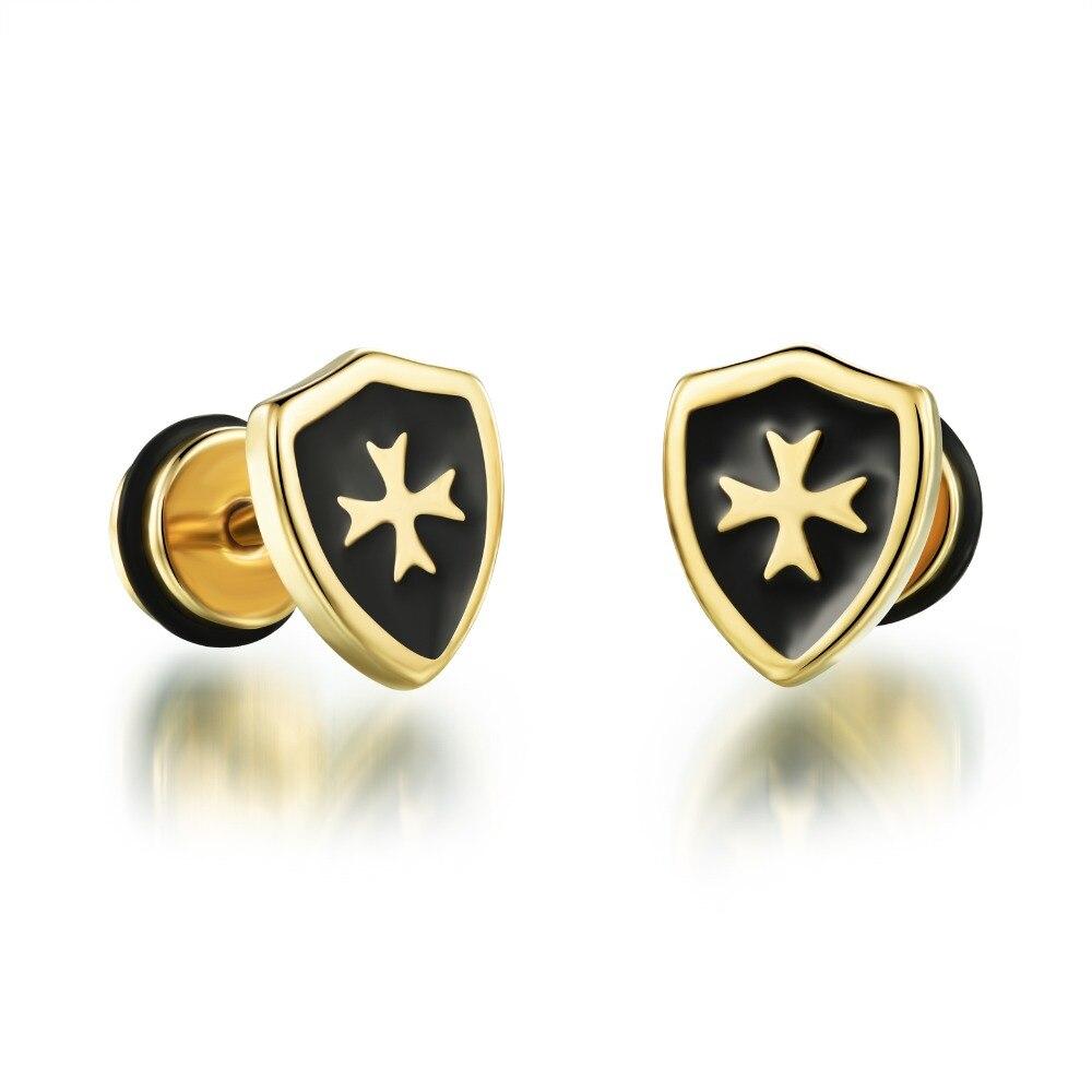 Men earrings screw back black earring for men stud earrings w/ cross stainless steel earring jewelry wholesale GE303