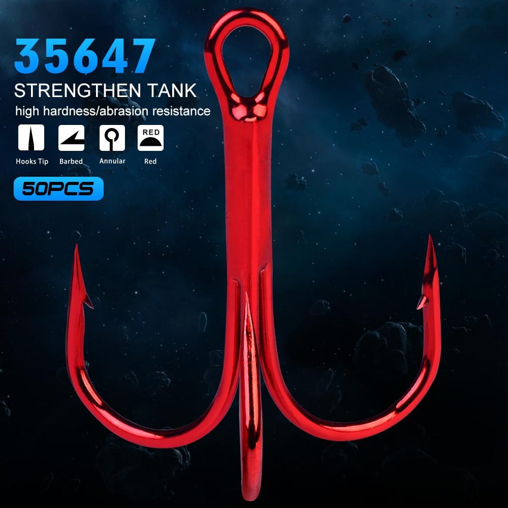 Lot 50pcs High Carbon Steel Worm Hook Jig Big Fishing Hooks Red Treble 6#-5//0#