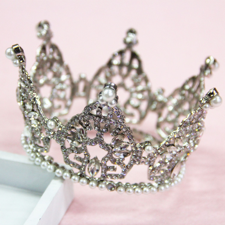 Wedding hair jewelry rhinestone pearl round small crown female white pearl rhinestone crown queen pageant crown