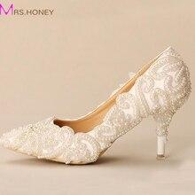 Weiße Perle Perlen Brautschuhe 2016 Neue Designer Wunderschöne Hochzeit Schuhe Spitz Weißen Heels Für Verlobte Prom Schuhe