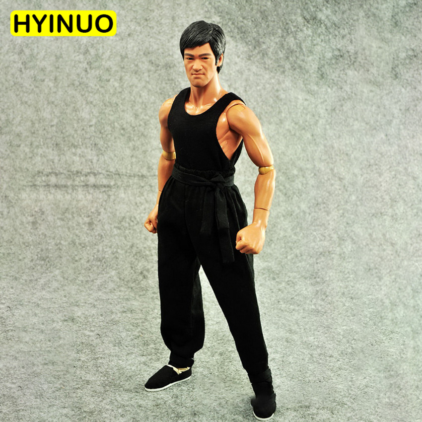 1/6 Scale Chinese Kongfu Bruce Lee White Long Sleeve Kungfu Tang Suit Clothes Clothing Suit Set Model for 12''Action Figure Body image
