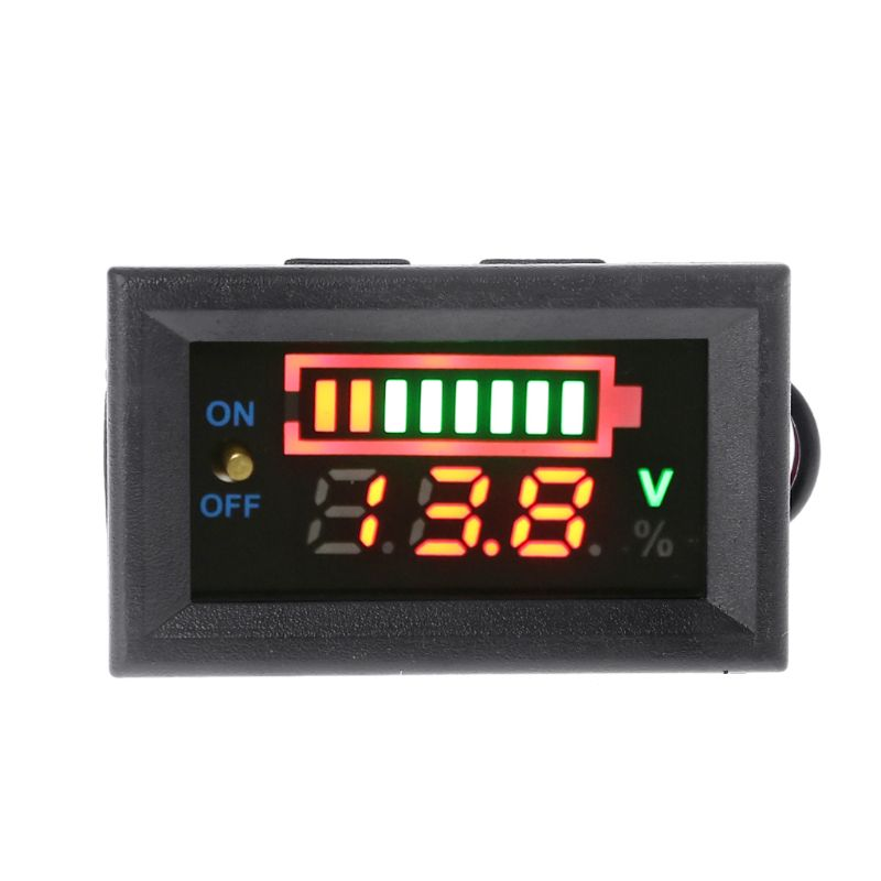 12V Car Lead Acid Battery Capacity Indicator Voltmeter Power Tester with Switch Battery Testers
