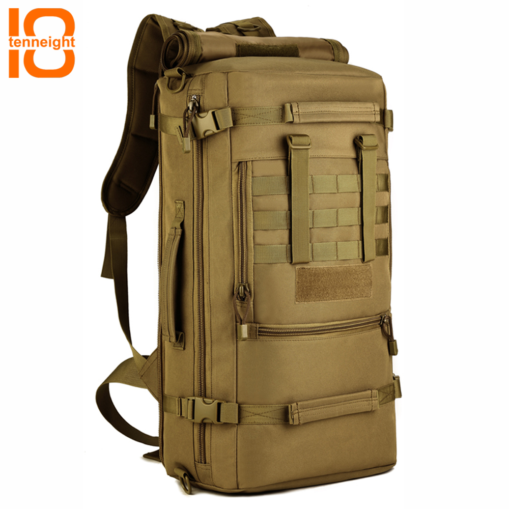 TENNEIGHT 50L Military Tactical Backpack Nylon outdoor Camping Bags Men's sports climbing hunting Backpack Travel Backpack hiking backpack sports camping travel climbing bags multifunction military tactical backpack army camouflage bags