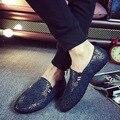 Mocasines Zapatos Para Hombre 2017 de La Moda de Primavera de LA PU de Cuero de Los Hombres Zapatos Planos deslizamiento En Los Zapatos Casuales Hombres Mocasines de Hombres Que Conduce Los Zapatos Planos Azul