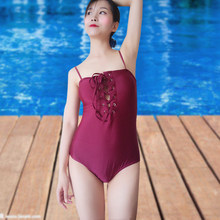 Womens Korean style Cute girl swimsuit Sexy Swimsuit One Pieces body suit Slimming Shoulder Straps bathing suit Briefs(China)