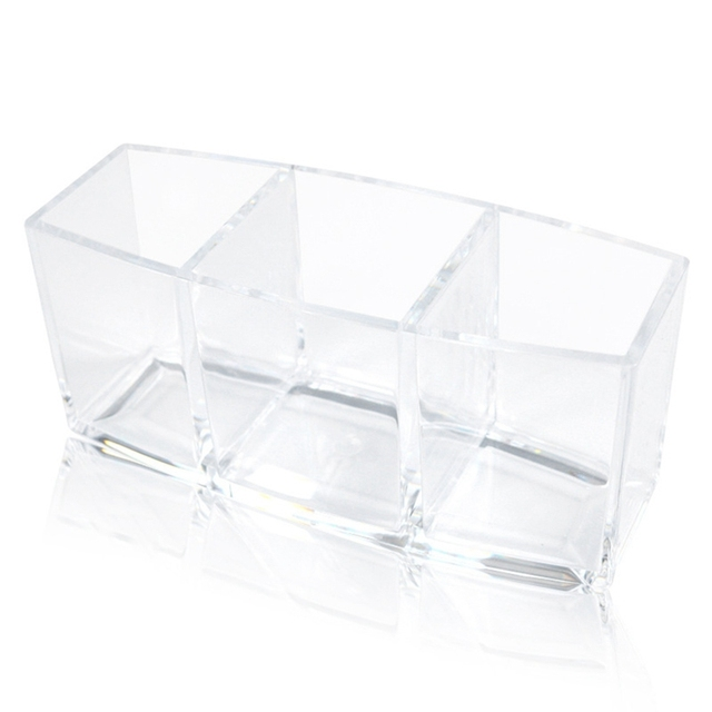 Organizer Cosmetic Holder Make Up Tools Storage Eyebrow Brush Boxes Lattice Box 3 Holes