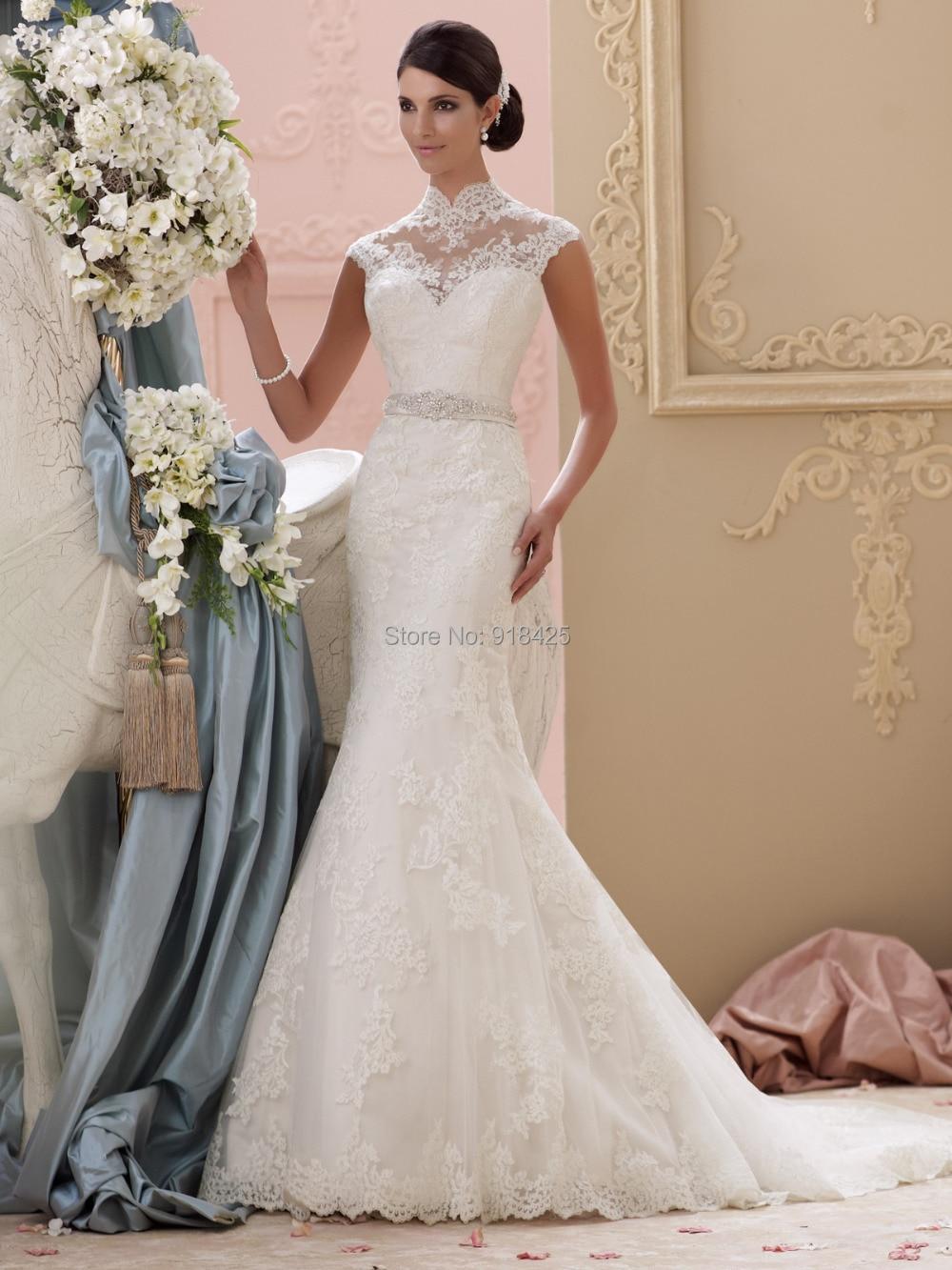 High Illusion Neckline Wedding Dresses