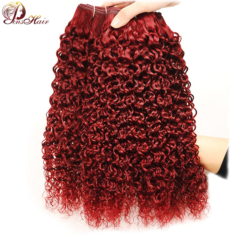 Pinshair Bold Red Burgundy Bundles Peruvian Kinky Curly Human Hair Weave 4 Bundles 99J Curly Hair